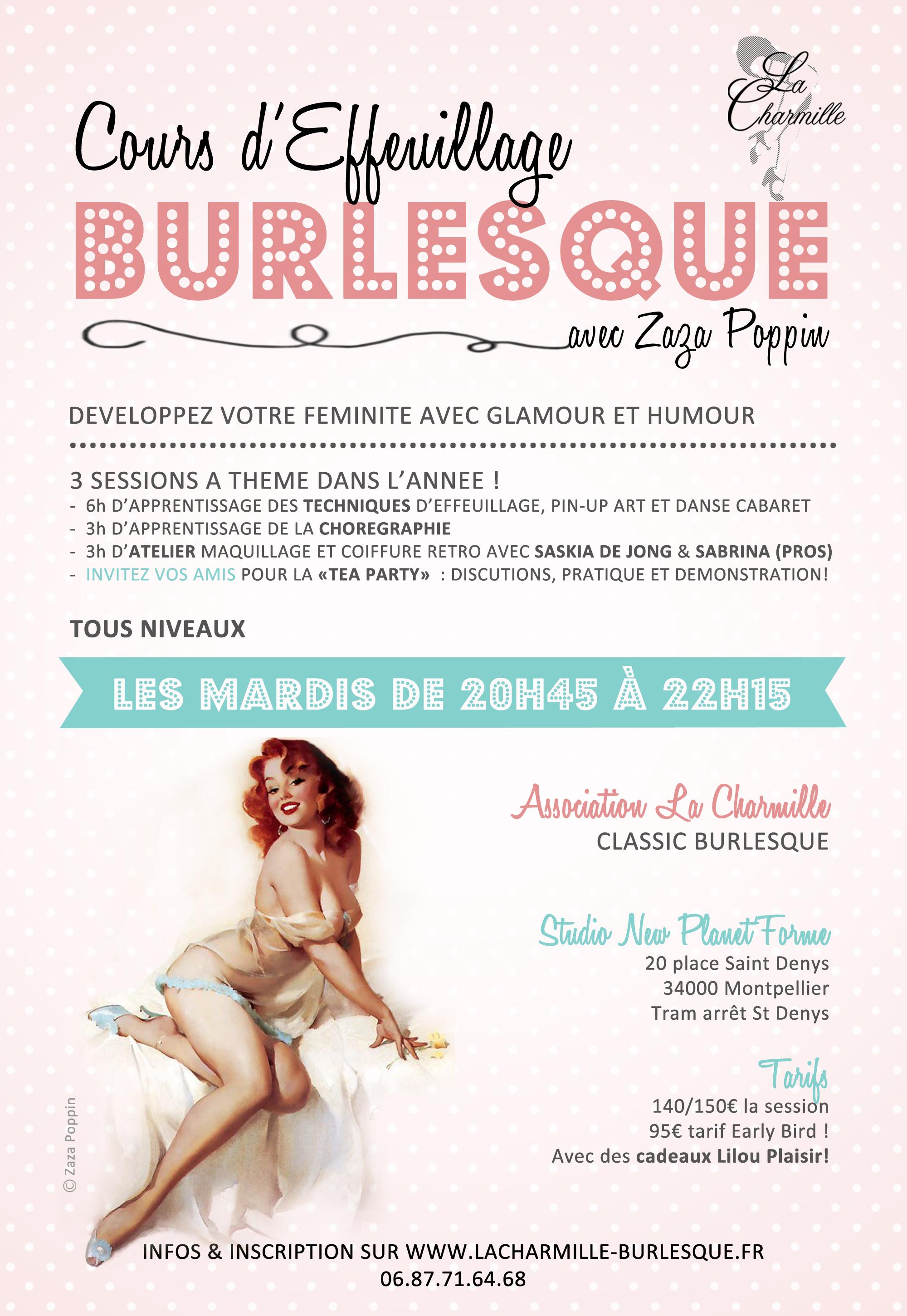 Cours effeuillage Burlesque de la Charmille avec Zaza Poppin - Montpellier